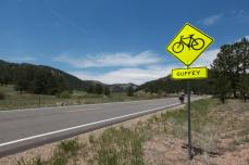 Guffey, Co announces its welcome to cyclists.