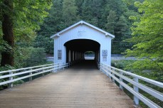 The covered bridge over Goodpasture Lane. The bridge is beautiful, but there is no obvious good pasture anywhere near here. --Vida, OR.