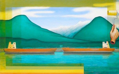 "Painting in Lynn Valley, 1998</br>  acrylic on canvas, 30"" x 48""</br> $3600"
