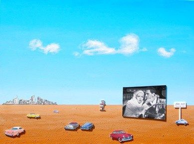 Drive-in Noir, 2009</br> mixed media and acrylic on canvas, 30″ x 40″</br> $3800 – SOLD