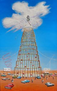 """Ride the Wild Mouse, 2009</br> mixed media and acrylic on canvas, 30"""" x 48""""</br> $4800 – SOLD"""