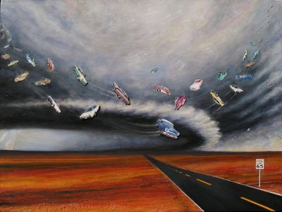 """Buick Maelstrom, 2009</br> mixed media and acrylic on canvas, 36"""" x 48""""</br> $5000 – SOLD"""