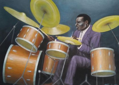 "Elvin Jones, 2016</br> acrylic on canvas, 28""  x 39""</br> $3000"