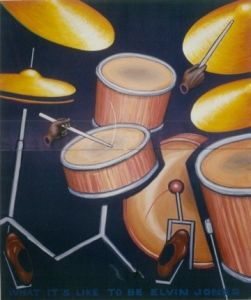 "What it is like to be Elvin Jones, 2002</br> acrylic on canvas, 60"" x 48""</br> $3800 - SOLD"