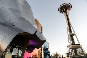 EMP Museum and Seattle Space Needle. Photo by Mike Higdon