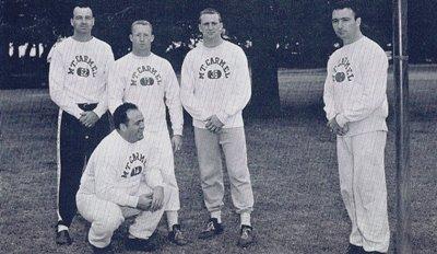 1960 City Champions Coaching Staff Back row: Howie Fagan,Van Snyder, John Mc Donnell kneeling: Rocco Principe. Far right, Head Coach Tom Carey