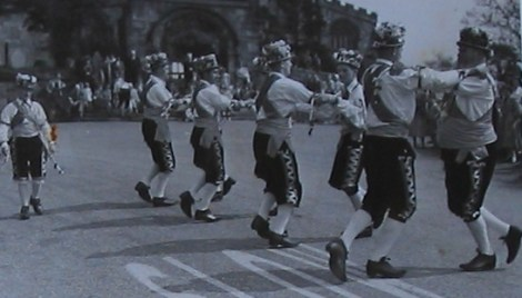 The Manley Morris Men dancing outside St Mary's Church, Astbury, just down the road from Little Moreton Hall, 9 May 1953. There are pretty good indications that my dad took this photo and the other two at Little Moreton Hall.