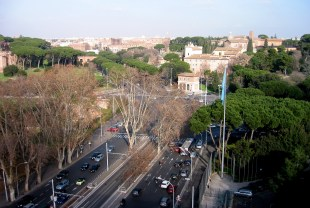 View from FAO towards the Caelian Hill and the Colosseum.