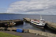 The Orkney ferry in the harbour at John o' Groats.