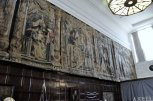 Tapestries high on the wall in the main entrance hall.