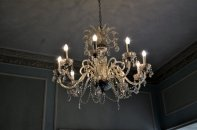 The chandelier above the swan figurine.