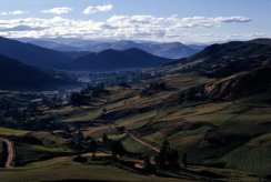 Looking east back over Cajamarca, with the mists rising up from the inca baths.