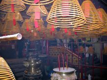 Huge incense coils at the Man Mo Temple.
