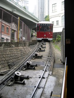 The Peak Tram at the lower station.