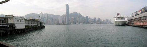 The Hong Kong business district from the ferry.