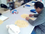 Cleaning maize seeds.