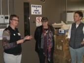 Sally Norton describes the genebank set-up, while Dr Jean Hanson, genebank manager from ILRI in Addis Ababa listens on..
