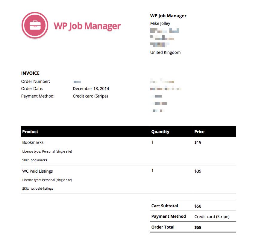 A sample invoice
