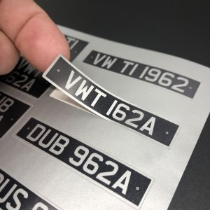 Lifting VW Samba Camper Licence Plate sticker ready for application