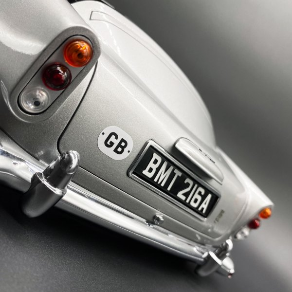 Rear view of Eaglemoss 1:8 model of James Bond's DB5