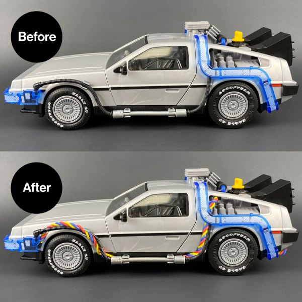 Before and after Playmobil DeLorean Flux Wires mod installed