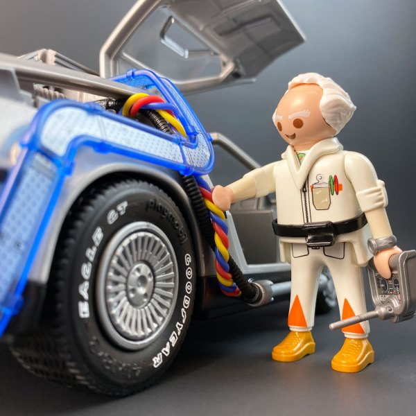 Playmobil DeLorean Flux Wires with model of Doc from Back to the Future