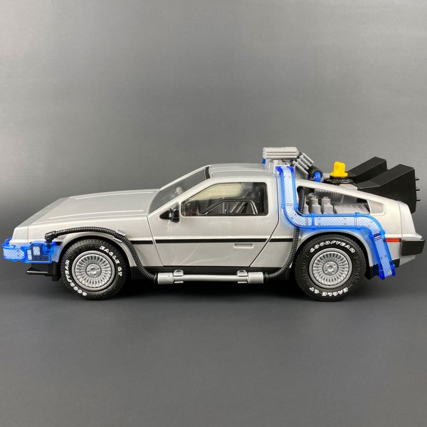 Side photo of Playmobil DeLorean with Tyre Transfers mod added
