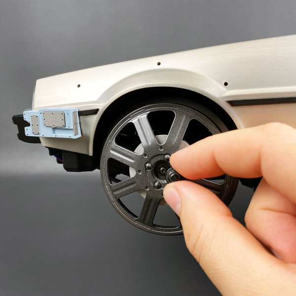 Attaching Magnetic Train Wheel Caps to DeLorean model