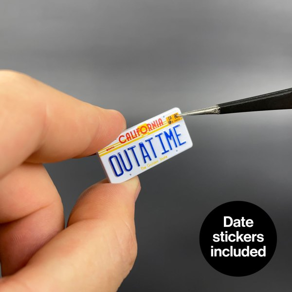 Date stickers included with OUTATIME die-cast licence plate