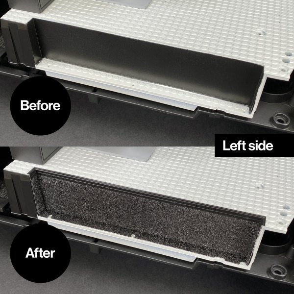 Ecto-1 rear carpet left side mod – before and after installation