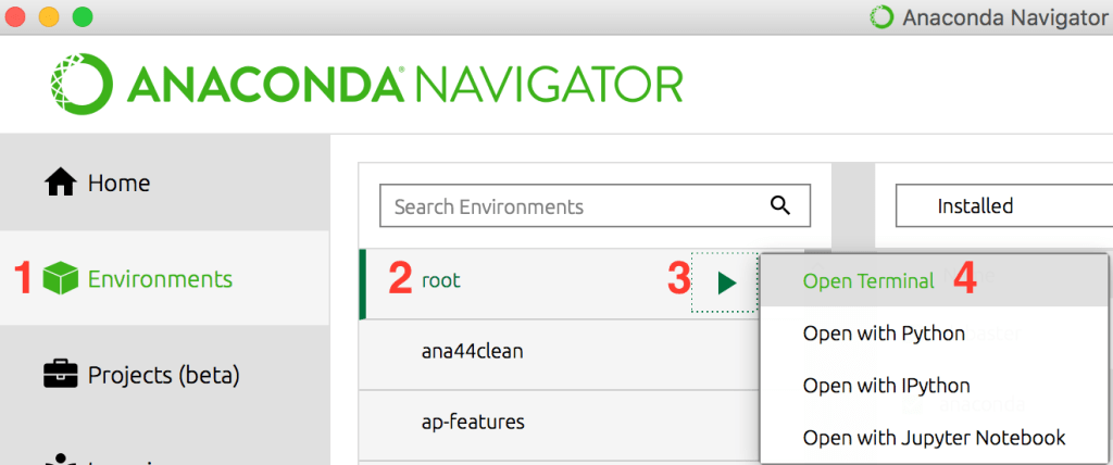 Image Showing how to launch terminal in Anaconda Navigator