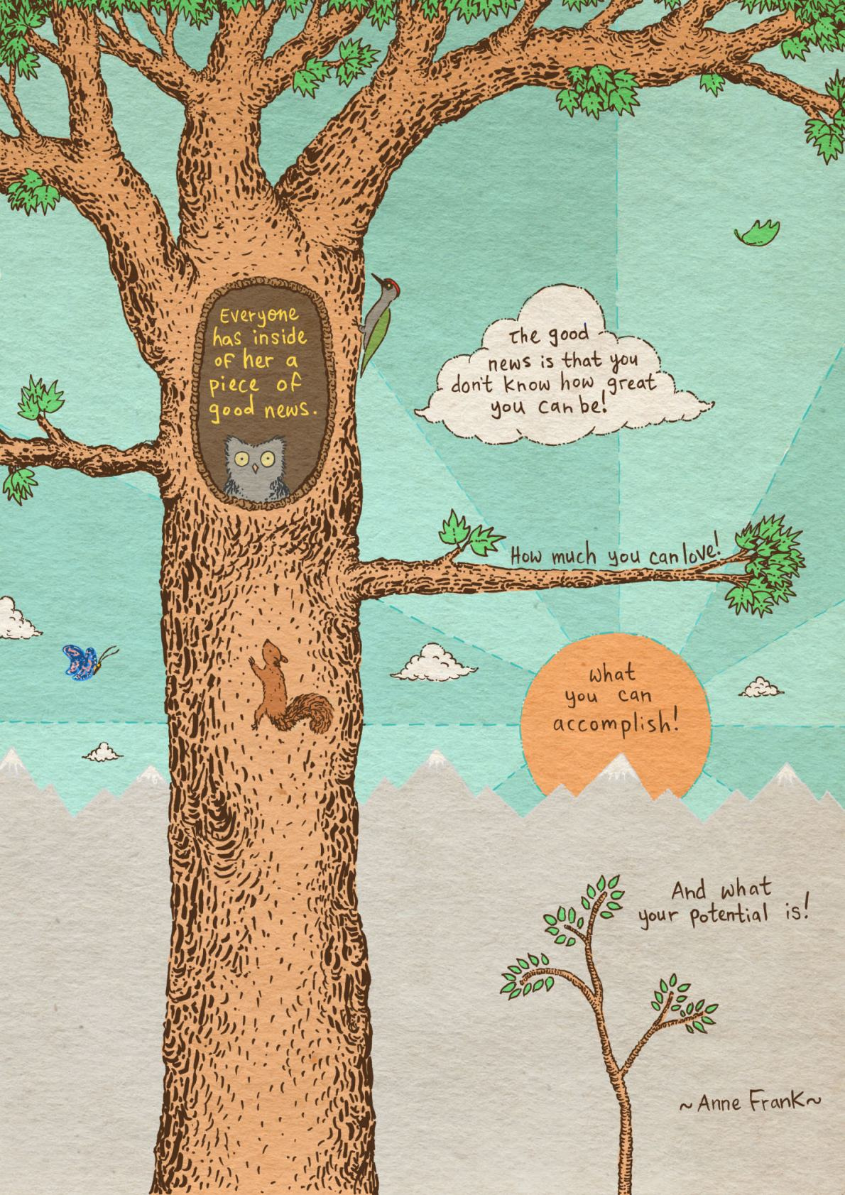 Quote from Anne Frank for Meditations Illustrated