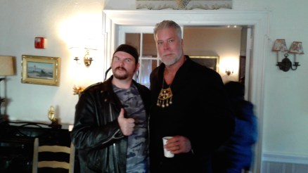 Mike as Ole Bayton with Kevin Nash as Reverend Thomas
