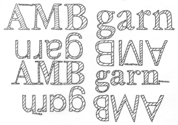 AMB garn in various typefaces