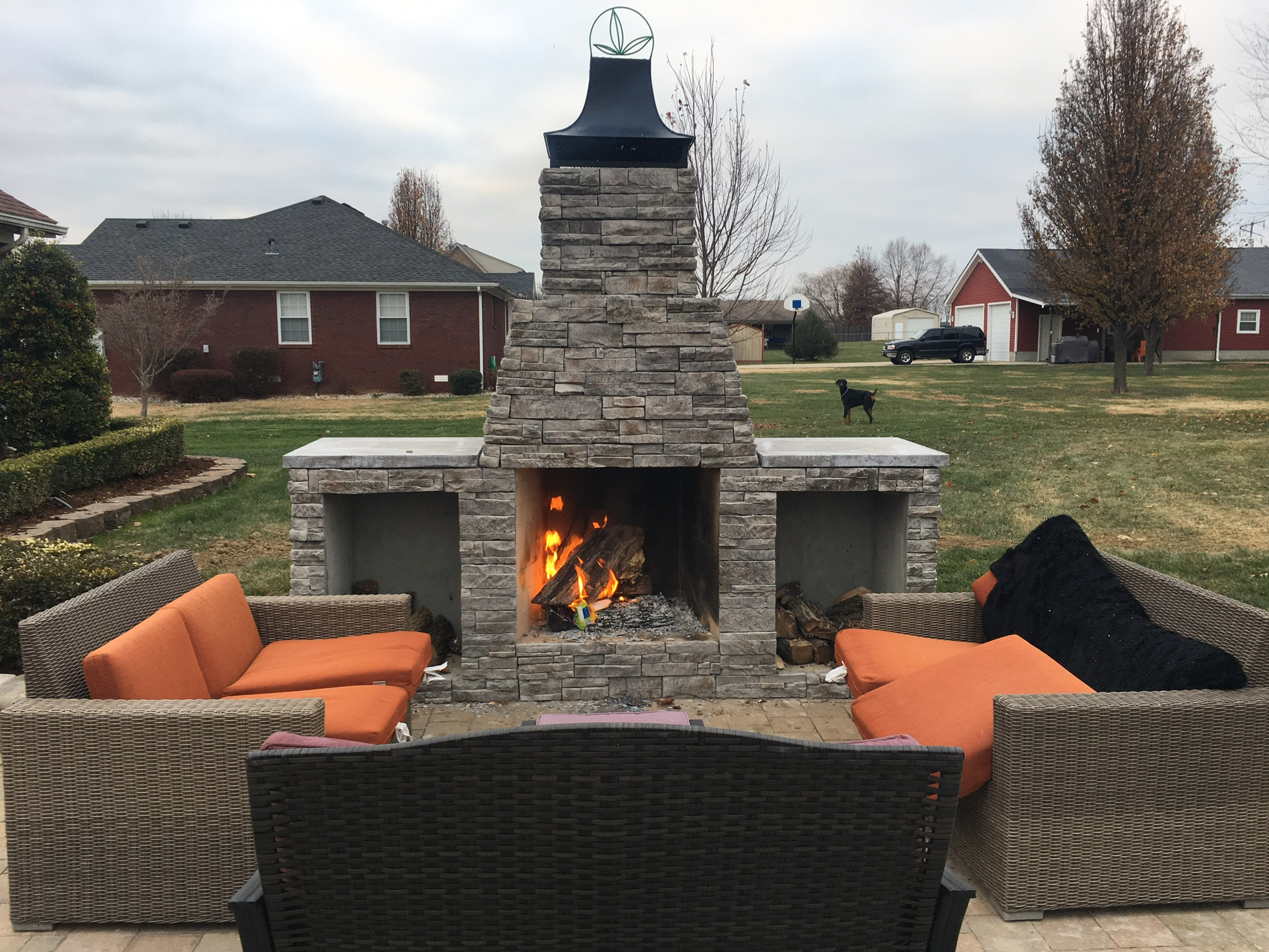 Paver Patio with Outdoor Stone Fireplace