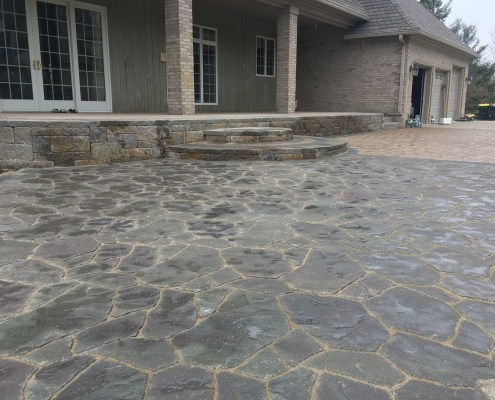 Slate Patio with Stairs and Paver Patio with Retaining Wall