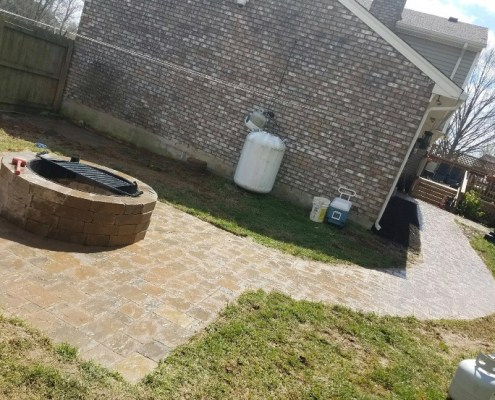 Paver Patio and Paver Walkway with Built in Fire Pit