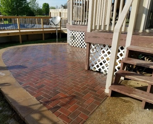 Circular Paver Patio with Clear Coat