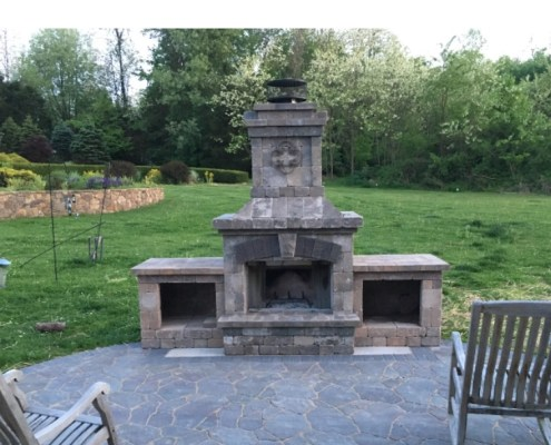 Paver Patio with Custom Outdoor Fireplace