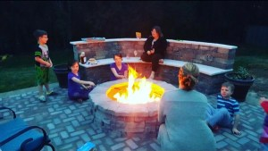 Paver Fire pit with Paver Bench and Paver Patio