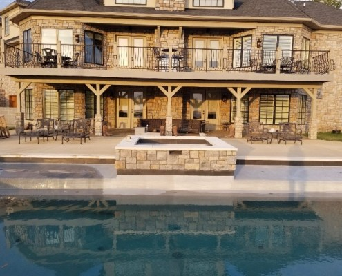 Pool with Built in Spa and a Paver Patio