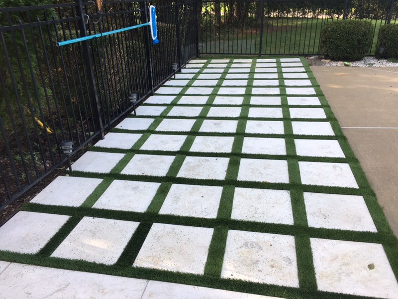 Patio Pavers with Artificial turf Inlet