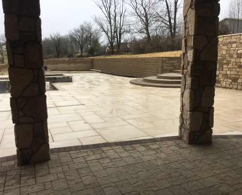 Retaining Wall around Pool with Paver Deck