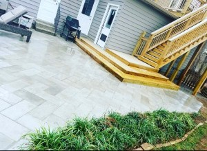 Paver Patio with Custom wooden Staircase