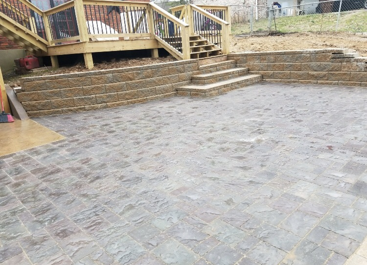Paver Patio and Stairs with Retaining wall and Fire Pit 3