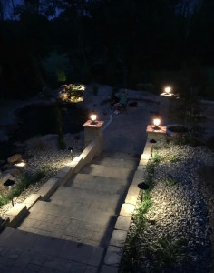 Custom Paver Staircase walkway with retaining wall and lights