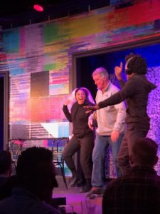 Mike Pound on stage at Second City. Trying to do the Electric Slide with Kimberly Michelle Vaughn.