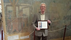 Receiving award for helping to save the WPA Mural.