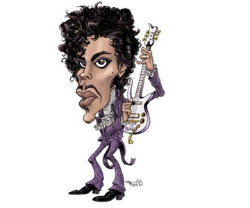 caricature of Prince in color, 1982