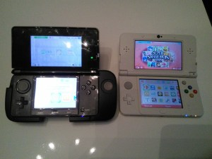 Old 3DS with Circle Pad Pro attachment and New 3DS